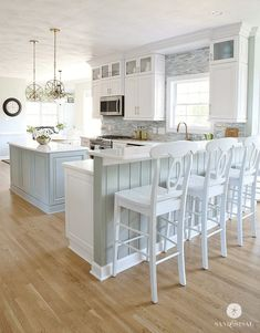 Home Interior Modern Coastal Kitchen Makeover the reveal.Home Interior Modern Coastal Kitchen Makeover the reveal Beach House Kitchens, Home Kitchens, Coastal Kitchens, Coastal Kitchen Lighting, White Coastal Kitchen, Beach House Lighting, Bright Kitchens, Small Kitchens, Home Decor Kitchen