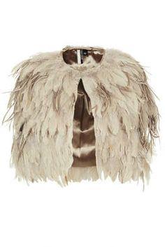 Feather Mix Cape - Coats  - Clothing