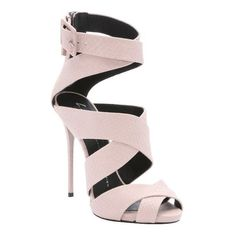 Giuseppe Zanotti Light pink snake embossed 'Coline' strappy sandals ($555) ❤ liked on Polyvore featuring shoes, sandals, pink, leather sole sandals, high heels stilettos, leather sandals, ankle strap high heel sandals and peep toe sandals