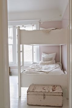 "Vintage Whites Blog: An Inspirational Montana Home / Paint color in kitchen, dining and living room: Farrow & Ball ""Skimming Stone"" Paint color in hallway: Farrow & Ball ""Strong White"" Paint color in Girls Room: Farrow & Ball ""Calamine"