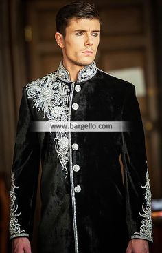 At Ahsan's we offer tailor made mens reception sherwanis with matching shoes, scarf and turban. Wedding Outfits For Groom, Wedding Dress Men, Wedding Suits, Wedding Couples, Wedding Ideas, Indian Men Fashion, Arab Fashion, Mens Fashion, Groom Fashion