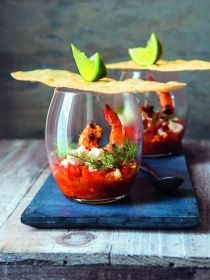 Chilli and Pernod-spiked tomatoes with feta and griddled prawns