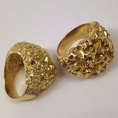 Mens Alaskan Gold Nuggets and Diamonds Ring Gold Rush Fine