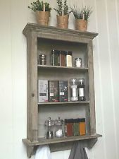 Shabby Chic Wall Unit Shelf Storage Cupboard Cabinet Hooks Kitchen Bathroom