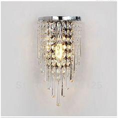 Crystal Wall Lamp Light Sconce Lighting Chrome Finish   Guaranteed100%+Free shipping! on AliExpress.com. $65.00
