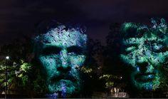 Melbourne, light monument in Albert park during the White night