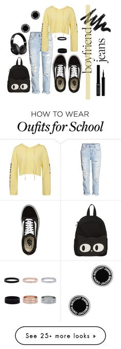 """BOYJEAN2"" by kpopfoodandstuff on Polyvore featuring Vans, H&M, Sans Souci, Beats by Dr. Dre, Marc Jacobs, Giorgio Armani and boyfriendjeans"