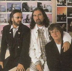 One of the many pictures taken of Ringo, George and Paul during The Beatles Anthology sessions.