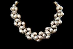 White Freshwater Pearl Swarovski Crystal Necklace by Pearlstringer, $195.00