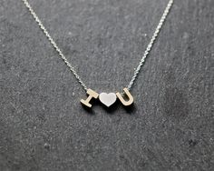 Initial and heart necklace Sterling Silver letter by MissDiary
