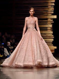 Haute Couture Perfection.  Blush Bridal Ball Gown.