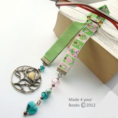 Bird & Tree embroidery ribbon bookmark by Made 4 your Books - Folksy