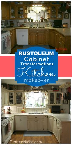 Check out this kitchen makeover! Before & After with Rust-Oleum Cabinet Transformations in Linen.