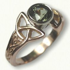 14kt Rose Gold Celtic Alysia Engagement Ring set with a .93ct Round Natural Green Sapphire- Beautiful Mounting