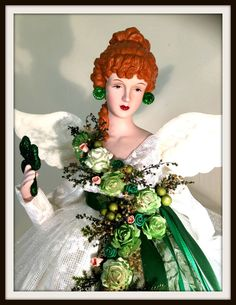 Red Haired Christmas Angel LARGE Tree Topper by DivineAngelShop