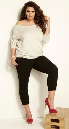 Fashionista: Black and White Plus Size. I would do a bright color shoe.