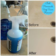 2 ingredient homemade soap scum remover - BEST ever (really works!)