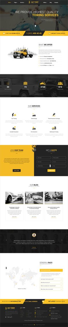 Towy is clean and modern design 3in1 responsive #WordPress theme for #auto #towing companies, car assistance, #repair or car breakage services website download now...