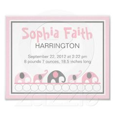 Pink and Gray Elephants infant nursery wall art Poster $13.25