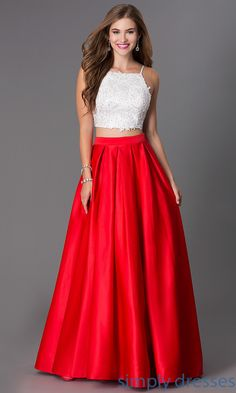 Floor Length Two Piece Spaghetti Strap Dress by Dave and Johnny DJ-1435