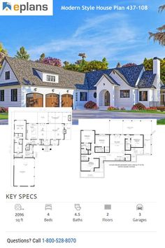 You can now take off thousands of home designs – no code needed. Some exclusions apply. Stylish and cool, this modern house plan is all about easy living. Large House Plans, Modern House Floor Plans, Modern House Facades, Sims House Plans, New House Plans, Dream House Plans, Modern House Design, Facade House, House Layouts
