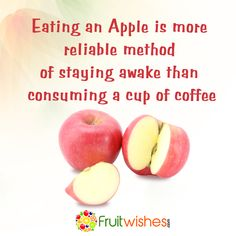 An apple will wake a person up somewhat, but it's not because of caffeine. The high sugar content of an apple is what does the trick. Fructose is digested quickly which raises blood sugar levels so even though apples don't wake you up with a jolt of caffeine, they are a healthy way to get a sugar rush. Shop online at www.fruitwishes.com to view our complete list of fresh fruits! ‪#‎Fruitwishes‬ ‪#‎shopfruitsonline‬ ‪#‎onlinefruits‬ ‪#‎healthyfruits‬ ‪#‎affordablefruits‬ High Sugar, Blood Sugar Levels, How To Stay Awake, Sugar Rush, Caffeine, Fresh Fruit, Apples, Did You Know, Coffee Cups