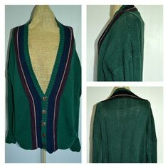 """Vintage 80s Grandpa Oversized Boyfriend Cardigan Vintage Size SMALL( tag states small)  Perfect Unisex Cardigan!  J. Riggings V Neck OVERSIZED Sweater. Hunter green with navy, white, and burgundy stripes adjacent to the V neck and buttons. Super soft ramie(55%)/cotton(45%) blend. Such an awesome grandpa, cardigan in absolutely fantastic condition! Similar to the current """"Oversized Boyfriend Sweater"""" at Hollister right now!   Measurements:  Sleeve- 26 1/2""""  Length- 25"""" (shoulder to hem)…"""