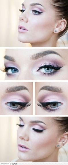 pink eye shadow on blue eyes with silver highlight and cat eye....this would be good for me!