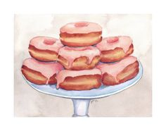 JoJo LaRue Pink Donuts on a Stand – Original Watercolor Painting – Doughnuts Foo… – Anime Food – Candy – Chibi Food – Chocolate – Confectionary – Dessert – Drinks – Food People – Food Drawing – Snacks – Sweets – Wrappers – Donuts Watercolor Food, Arches Watercolor Paper, Watercolor Paintings, Watercolours, Pabst Blue Ribbon, Food Design, Chibi Food, Donut Decorations, Food Painting