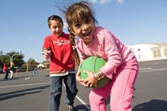 Students are free to run around the area (gym, outside within boundaries, etc) as they please.When a student picks up a ball they must stop moving and their feet become frozen. Gym Games, Group Games, Exercise For Kids, Physical Activities, Things That Bounce, Kindergarten, Leather Jacket, Running, How To Plan