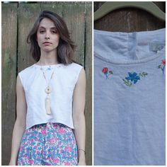 80d25d880f0 90s white linen croptop    white cropped tank with floral embroidery sz. S