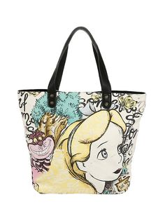 Loungefly Disney Alice In Wonderland Alice & Cheshire Cat Canvas Tote,
