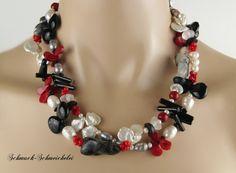 Perlenketten - LANG/KURZ-KETTE ZUCHTPERLEN-EDELSTEINE - ein Designerstück von jeannie1994 bei DaWanda