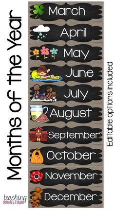 These months of the year labels are great to support your student calendar activities. This is a great addition to your back to school planning. Just print, laminate and help your children learn! Student Calendar, Classroom Calendar, Classroom Layout, School Calendar, Classroom Bulletin Boards, Classroom Displays, Teacher Calendar, Classroom Birthday, School Classroom
