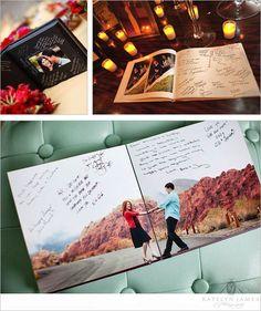 Libro de firmas de boda con fotos de la pareja en la preboda