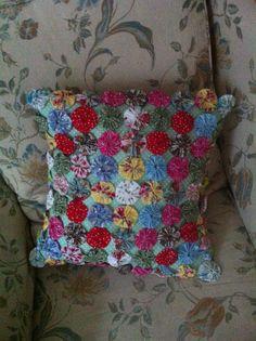 'Suffolk Puff' patchwork cushion cover