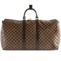 Louis Vuitton Damier Ebene Keepall 55 Shoulder Strap Duffel Bag Louis Vuitton Handbags, Louis Vuitton Damier, City Bag, Small Leather Goods, Duffel Bag, Baggage, Ribbons, Dust Bag, Shoulder Strap