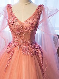 Vintage Ball Gown V-Neck Appliques Beading Floor-Length Quinceanera Ball Gown Dress 12471342 - Vintage Ball Gown Dresses - Dresswe. Quince Dresses, Gala Dresses, Ball Gown Dresses, Formal Dresses, Debut Dresses, Cheap Party Dresses, Cheap Gowns, V Neck Prom Dresses, Pretty Quinceanera Dresses