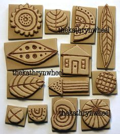 Foam stamps SET 2 hand carved mixed media by TheKathrynWheel Clay Stamps, Tampons En Mousse, Homemade Stamps, Stencils, Clay Texture, Stamp Carving, Fabric Stamping, Foam Crafts, Craft Foam