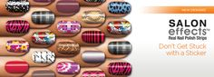 We love the Sally Hansen Salon Effects.  A fun and easy way to get creative looking nails.