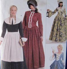 Adult Pilgrim Pioneer Colonial Costume Simplicity 3723 Pattern Sz 14 16 18 20 22 #Simplicity