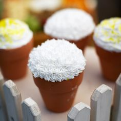 Serve cupcakes baked in tiny terra-cotta pots lined with parchment paper. Top them with a scoop of frosting and sugary sprinkles in summer colors.