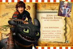 How to Train Your Dragon Party Invitation