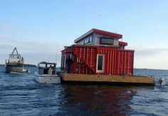 House boat made from shipping containers