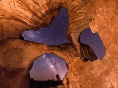 9 Stunning Panoramas of Starry Skies, Captured With a Homemade Camera Rig | Sometimes he takes stills,  like this shot inside the Double Arch in Utah. But he regularly winds up with at least 150 photos from each of his camera that he then stitches together and layers for a time lapse effect.  Vincent Brady  | WIRED.com