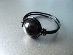 Hematite Ring  Black Wire Wrapped Ring  Healing by JbellsGems, $7.00