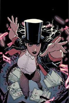 Zatanna is a superhero and one of the greatest magic-users in the DC Universe. Her father is the legendary magician Zatara and she works hard to live up to his legacy. The traditional method of spell-casting she uses involves speaking words and sentences backwards. She has been a member of the Justice League of America, the Sentinels of Magic, and the Seven Soldiers.