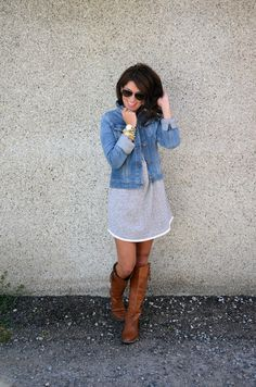 Jillian Harris - cute fall outfit! Cotton dress with jean jacket & boots - maybe add tights or leggings for cooler weather