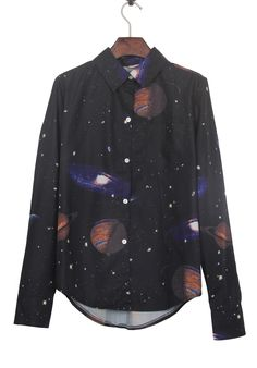 Black Wing Collar Galaxy Print Curved Hem Blouse