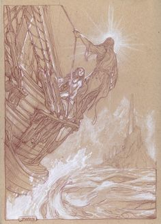 Eärendil and Elwing approach Valinor, by Donato Giancola //  Love the highlights!